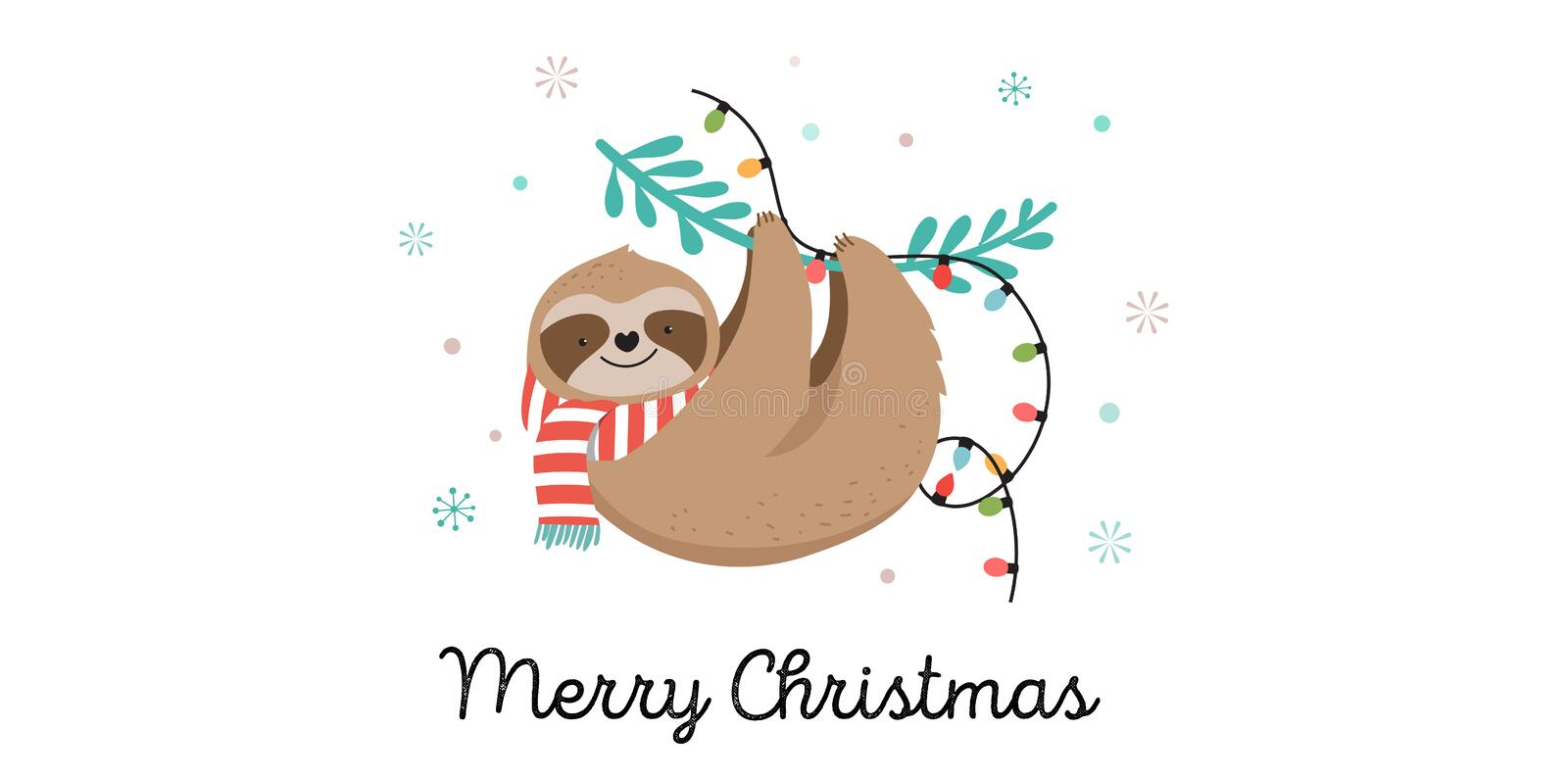 Cute sloths, funny Christmas illustrations with Santa Claus costumes, hat and scarfs, greeting cards set, banner. Cute lazy sloths, funny Merry Christmas stock illustration