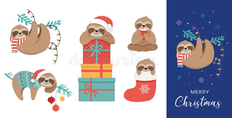 Cute sloths, funny Christmas illustrations with Santa Claus costumes, hat and scarfs, greeting cards set, banner. Cute lazy sloths, funny Merry Christmas royalty free illustration