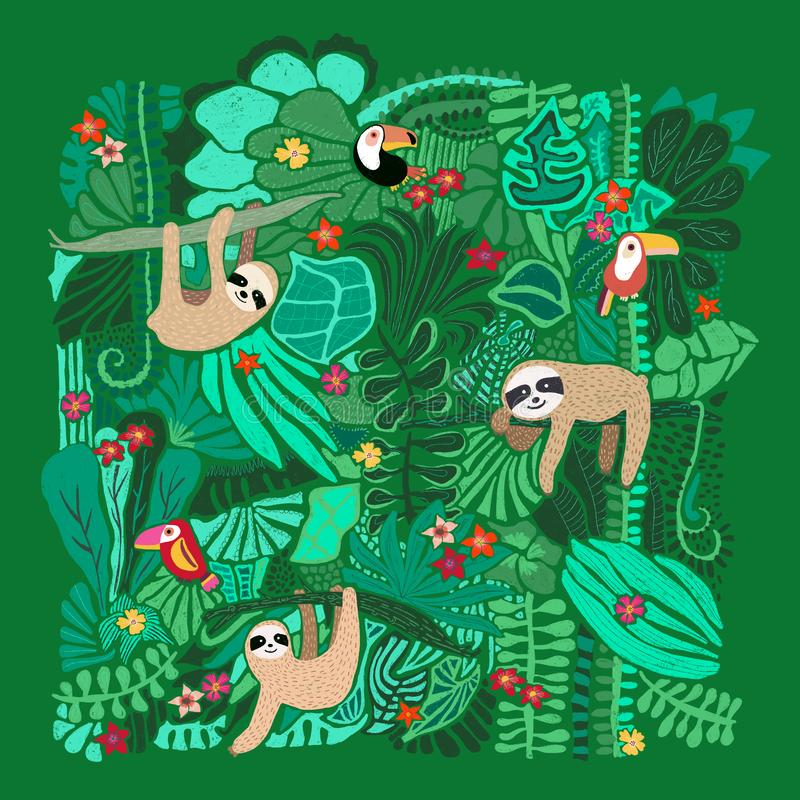 Cute sloths hanging on jungle trees. Hand drawn adorable animal illustration. Rainforest illustration. Funny sloth, toucan,. Flowers, leaves. For paper, kids stock illustration