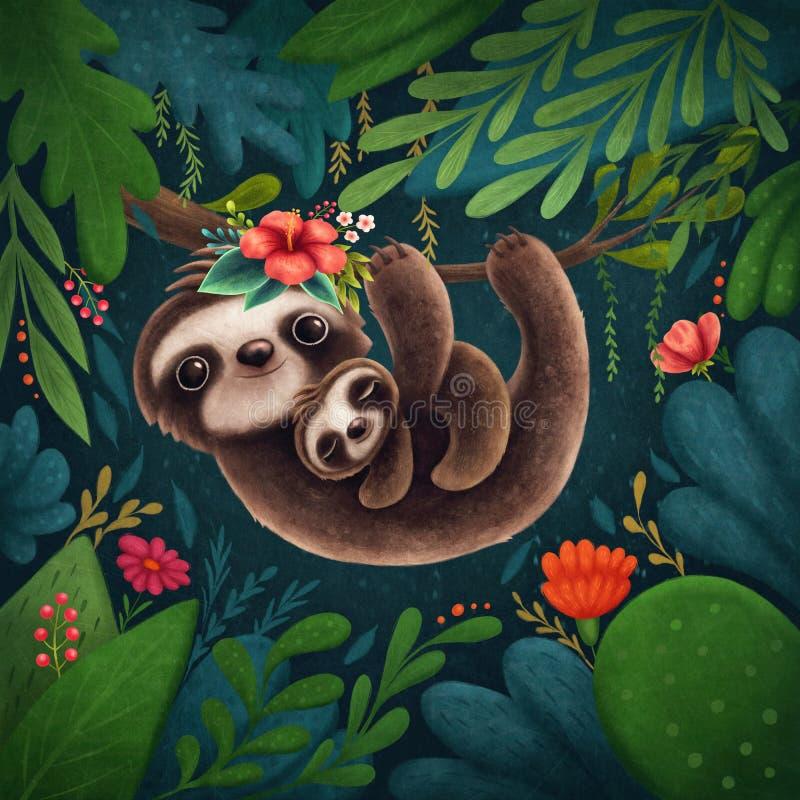 Cute sloths. Illustration of a cute sloths royalty free illustration