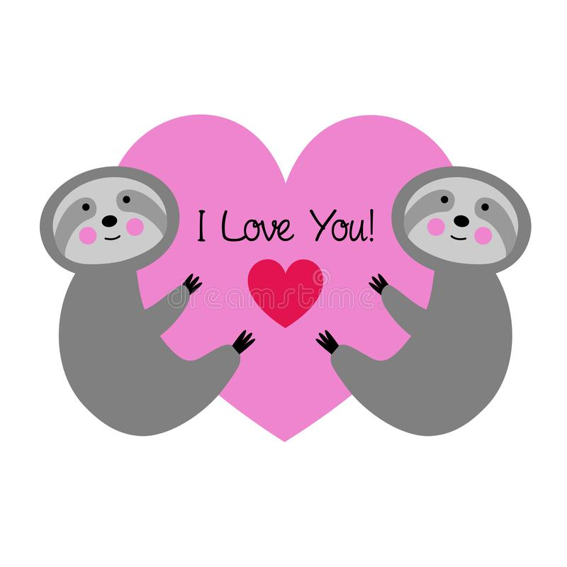 Cute sloths with pink valentine heart vector illustration
