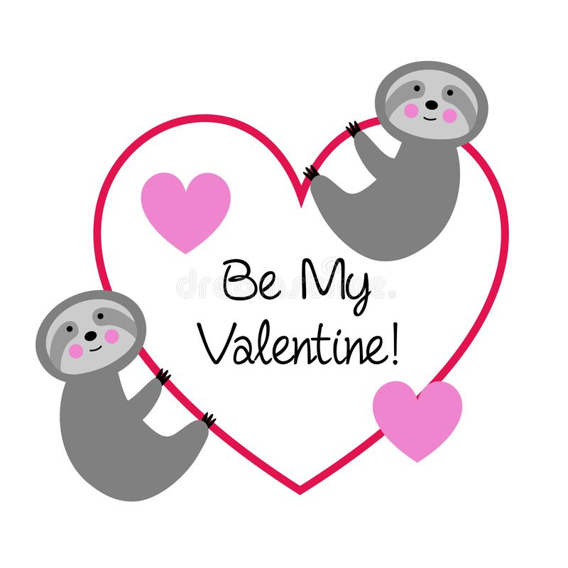 Cute sloths with valentine heart royalty free illustration