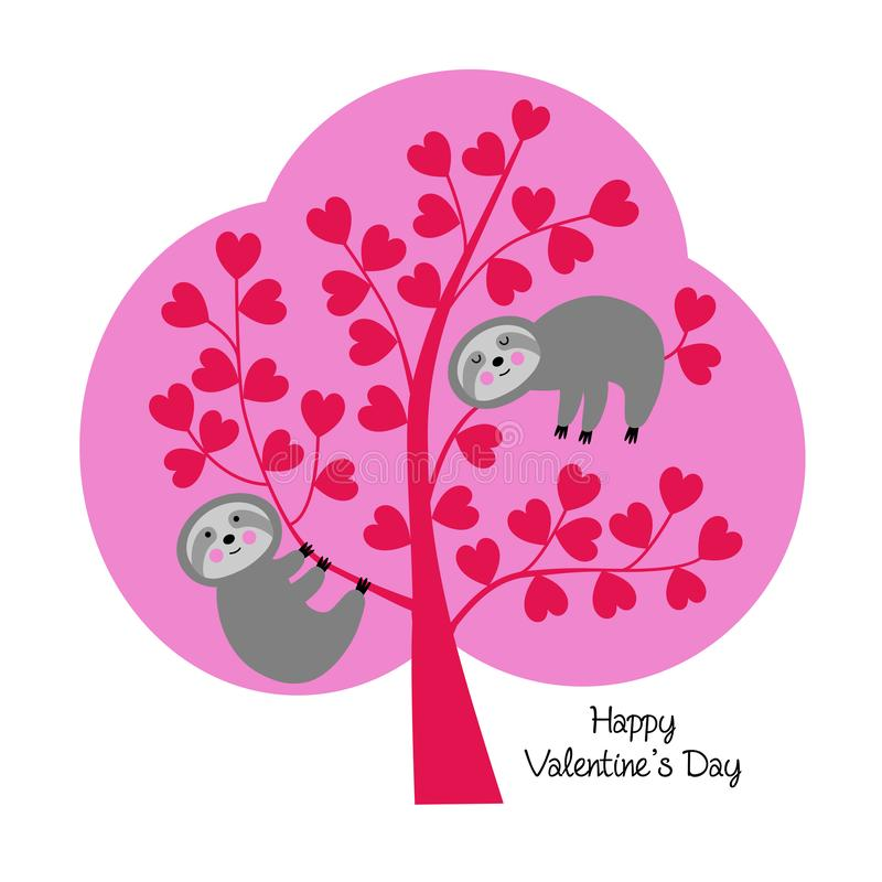 Cute sloths in valentine tree stock illustration