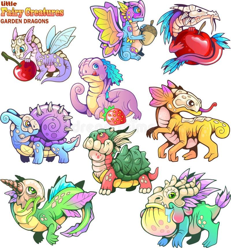 Small, cartoon, garden dragons, set of funny images. Cute, small, cartoon, garden dragons, set of funny images vector illustration