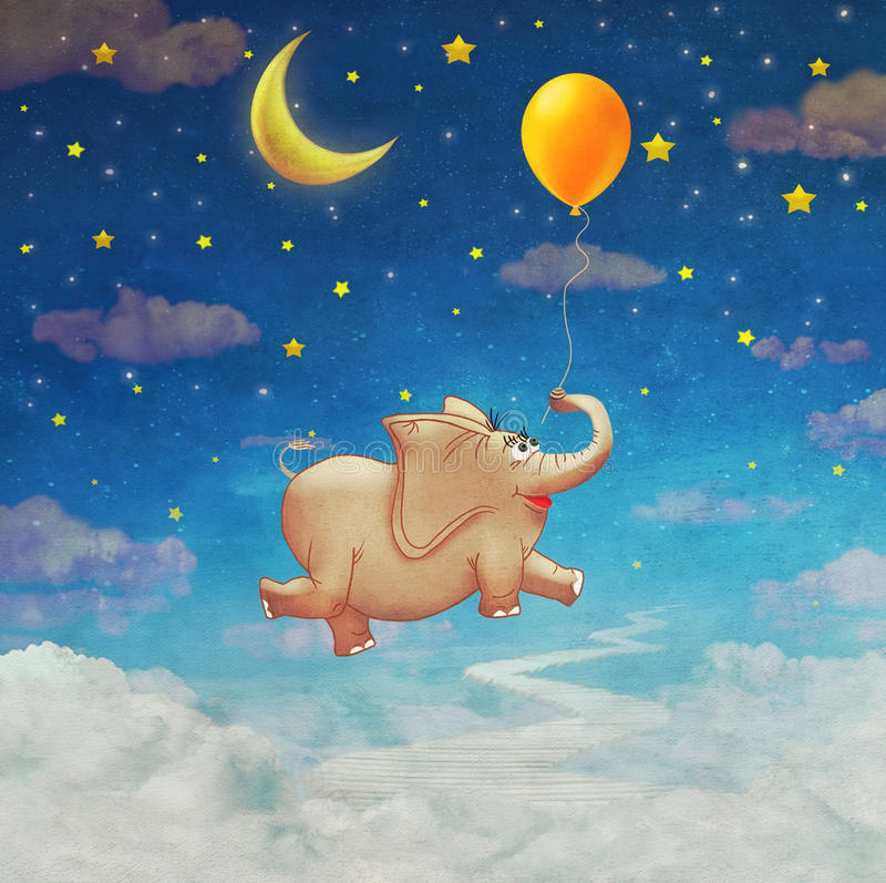 Cute small elephant flying at colourful air balloon in the sky vector illustration