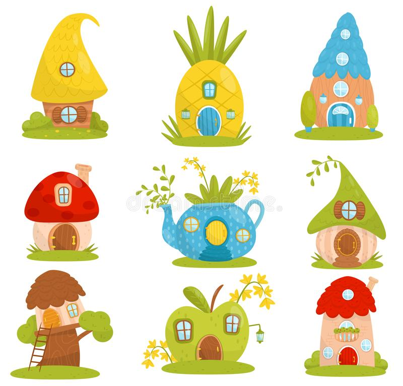 Cute small houses set, fairytale fantasy house for gnome, dwarf or elf vector Illustrations on a white background. Cute small houses set, fairytale fantasy house stock illustration