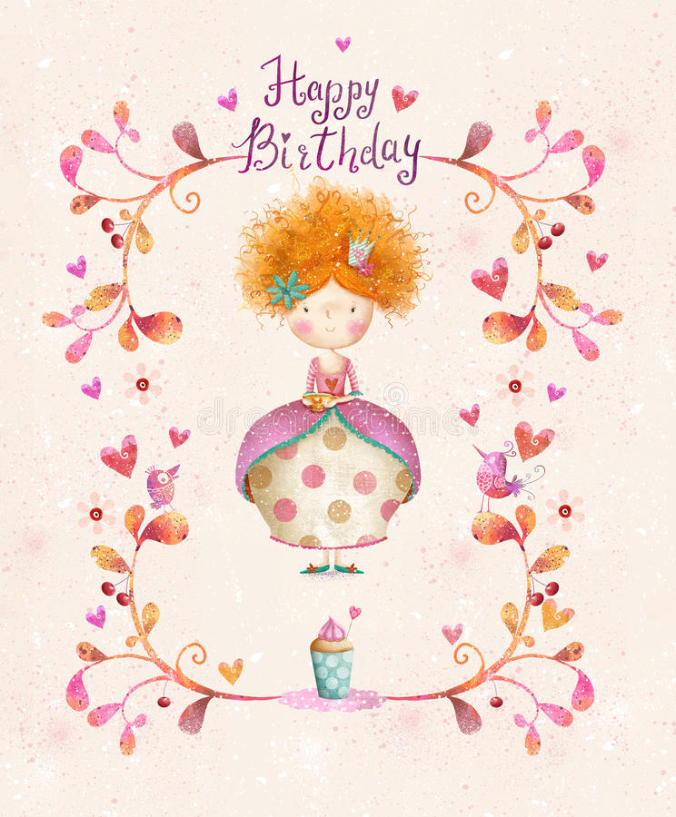 Cute small princess with cup of tea in flowers, hearts, birds. stock illustration