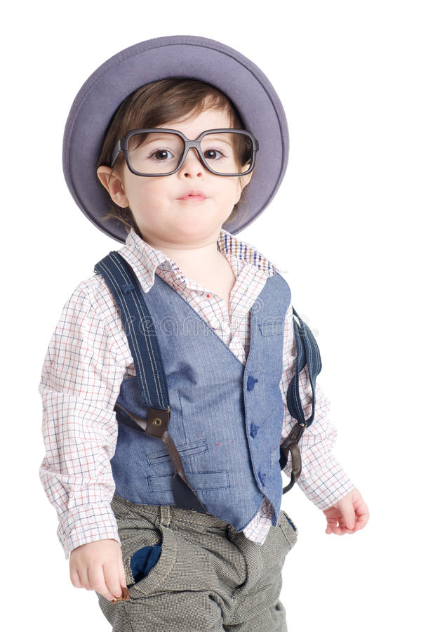 Cute smart baby kid with hat stock images