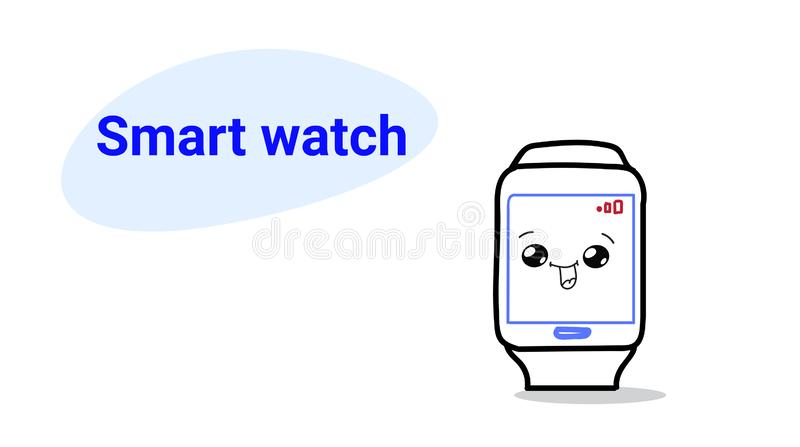 Cute smart watch cartoon comic character with smiling face happy emoji kawaii hand drawn style wireless clock digital. Technology concept horizontal vector vector illustration