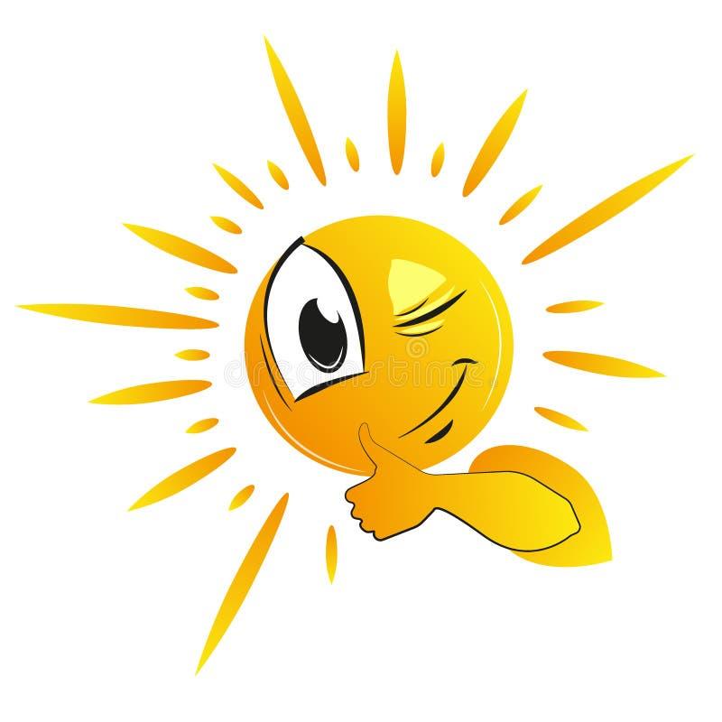 Cute smiley sun, cartoon sun vector illustration. Kid illustration stock illustration