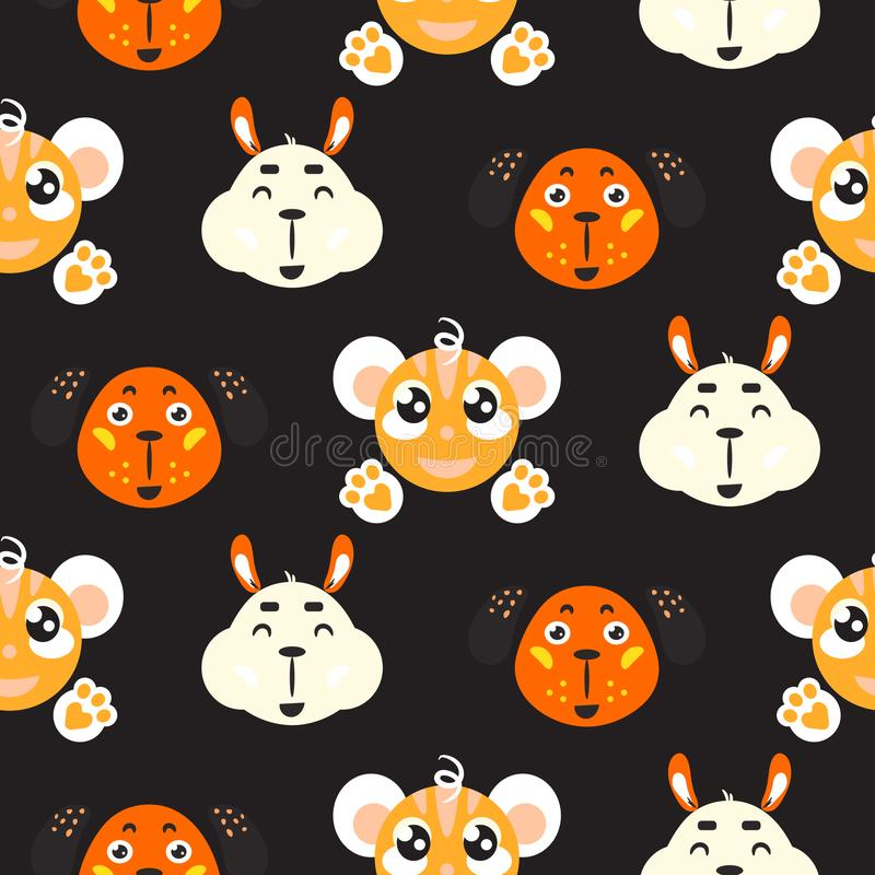 Cute smiling animals childish vector colorful seamless repeat pattern. royalty free illustration