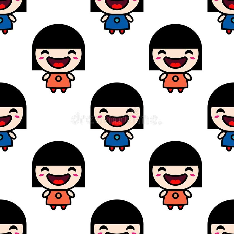 Cute smiling anime girl stock photo