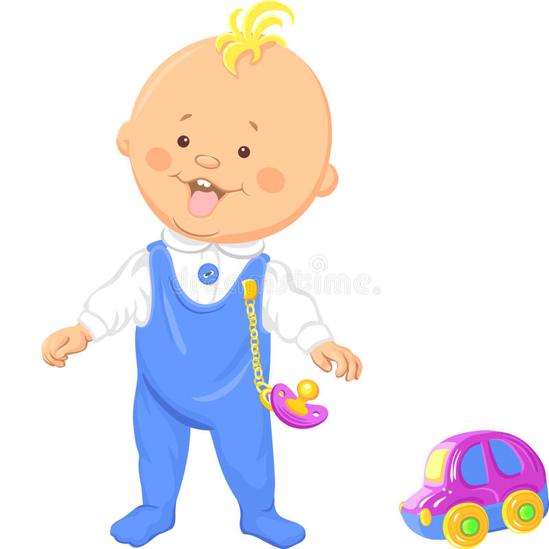 Vector cute baby boy learns to walk stock illustration