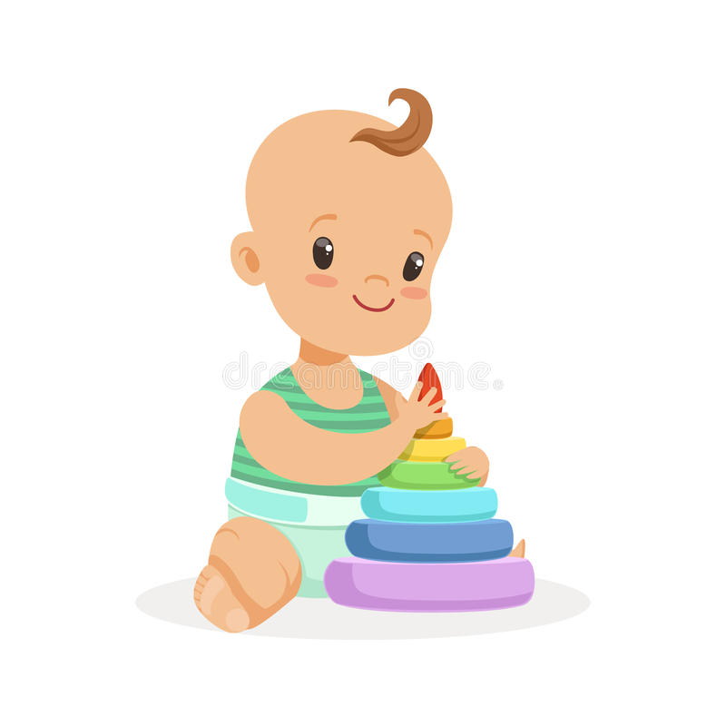 Cute smiling baby sitting and playing with pyramid toy, colorful cartoon character vector Illustration. Isolated on a white background stock illustration