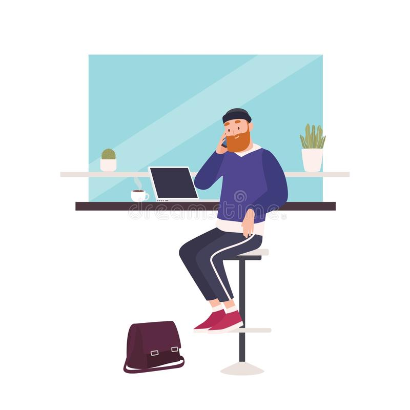 Cute smiling bearded man sitting at cafe, working on laptop computer and talking on mobile phone. Happy freelance worker. At coffee shop. Busy guy. Flat modern royalty free illustration