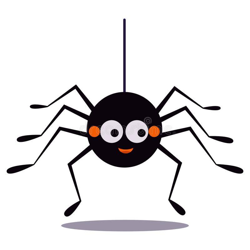 Cute smiling black spider hanging on a string of cobwebs icon isolated on white background royalty free illustration