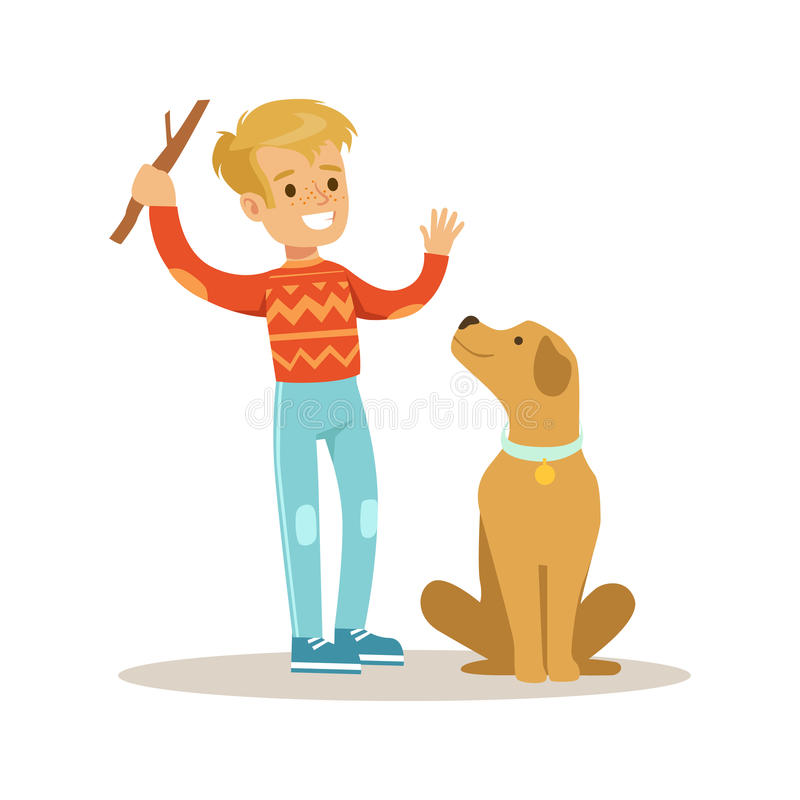 Cute smiling boy playing with his dog. Colorful cartoon character vector Illustration. Isolated on a white background stock illustration