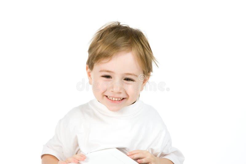 Cute smiling boy portrait stock images