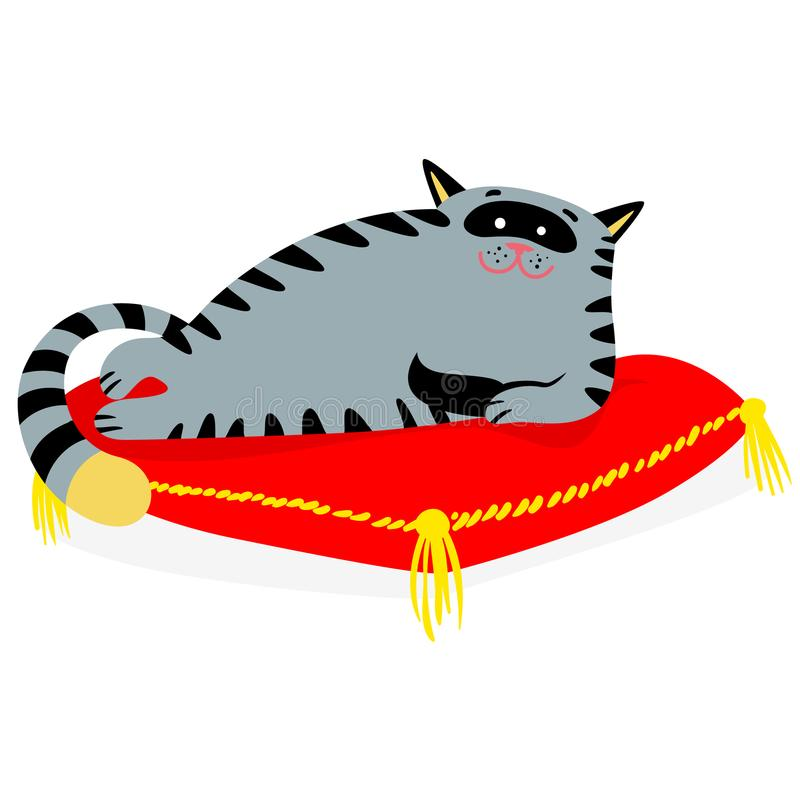 Cute smiling cat lying on the red pillow. Lazy feline cartoon ca. Racter. Vector illustration stock illustration