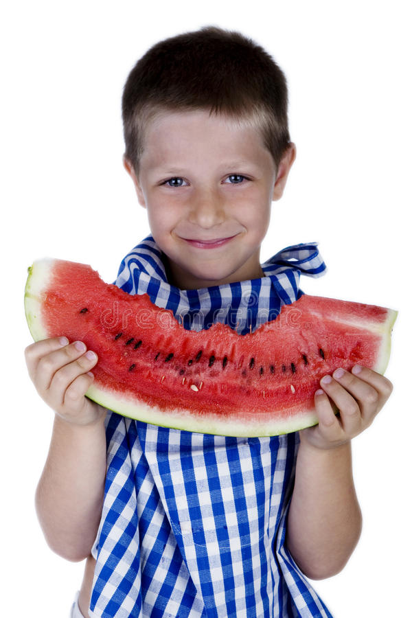 Download Cute Smiling Child Holding A Watermelon Slice Royalty Free Stock Image - Image: 10178346