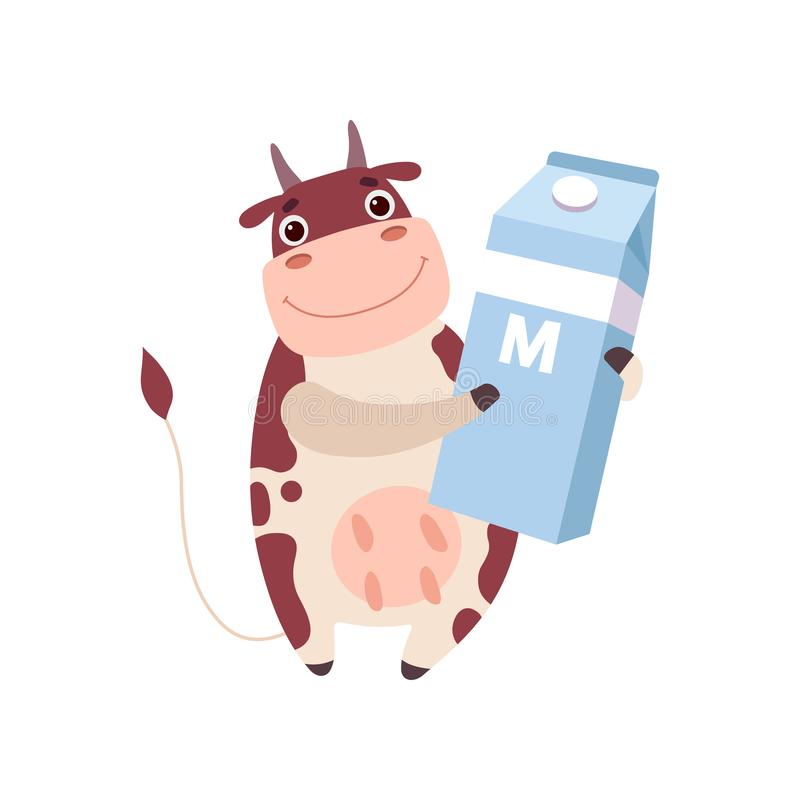 Cute Smiling Cow Holding Packaging of Milk, Funny Farm Animal Cartoon Character Vector Illustration stock illustration