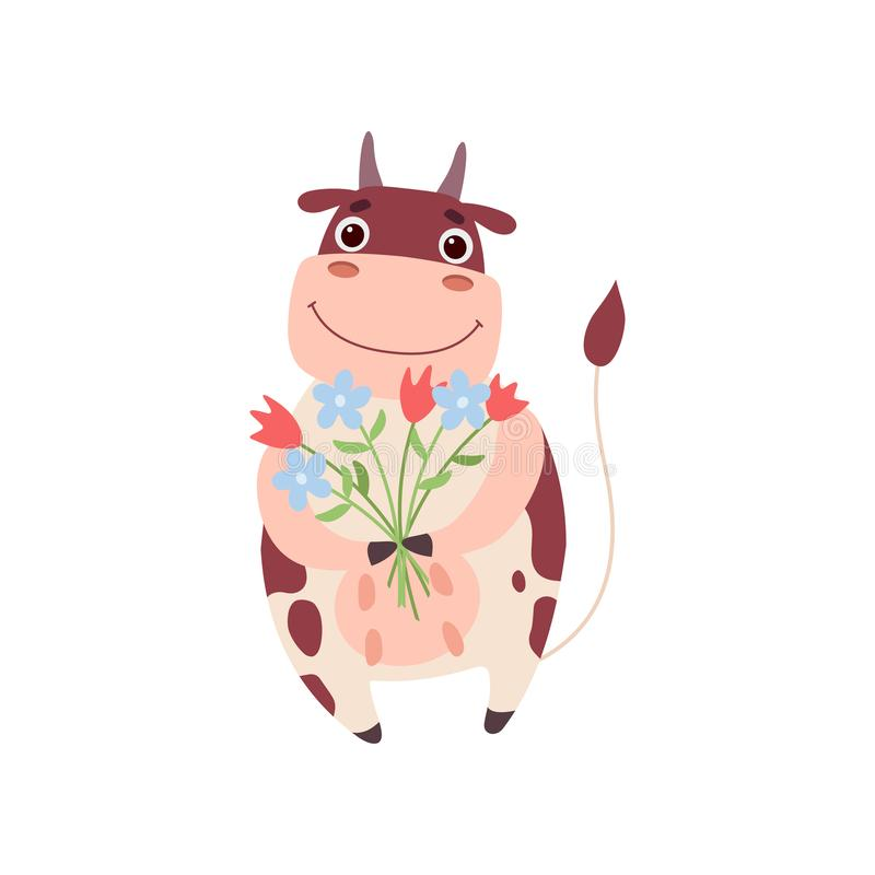 Cute Smiling Cow Standing on Two Legs with Bouquet of Flowers, Funny Farm Animal Cartoon Character Vector Illustration. On White Background vector illustration
