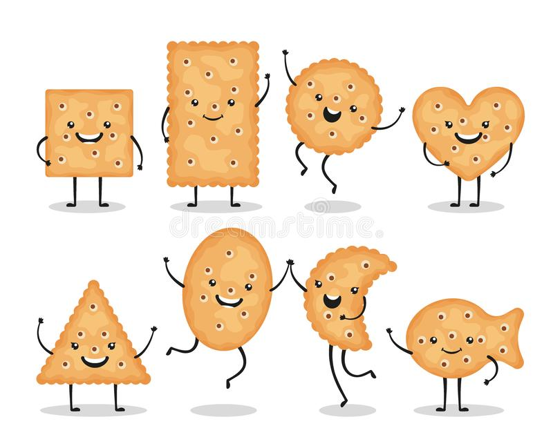 Cute smiling cracker chips different shapes isolated on white background. Happy biscuit cookies characters, doodle snack royalty free illustration