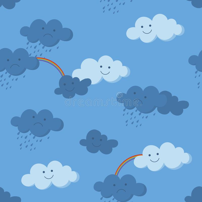 Cute smiling and crying clouds and rainbow in the sky seamless pattern stock illustration