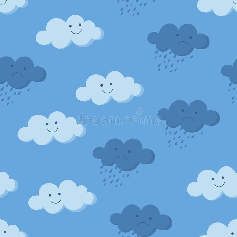 Cute smiling and crying rainy clouds in the sky seamless pattern stock illustration