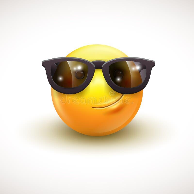 Cute smiling emoticon wearing black sunglasses, emoji, smiley - vector illustration. EPS10 royalty free illustration