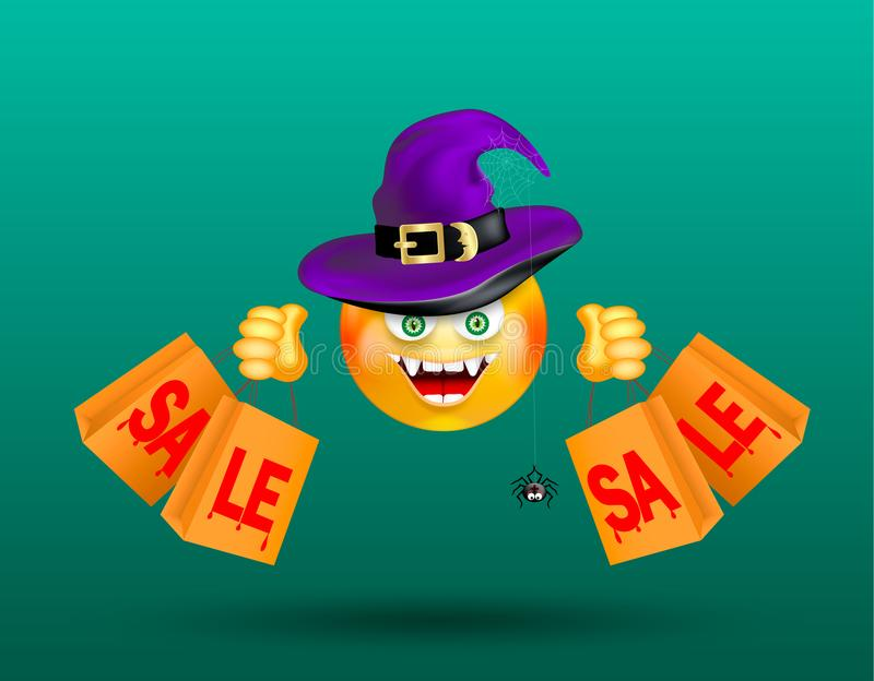 Cute smiling face emoticon wearing witch purple hat with scary decor of spider on cobweb and holding shopping bags with bloody red vector illustration