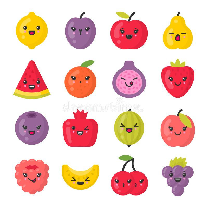 Cute smiling fruits, isolated colorful vector icon set vector illustration