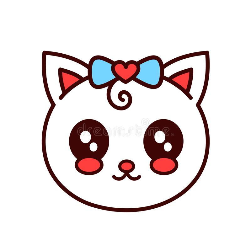 Cute smiling funny cat,kitten face.Vector royalty free illustration