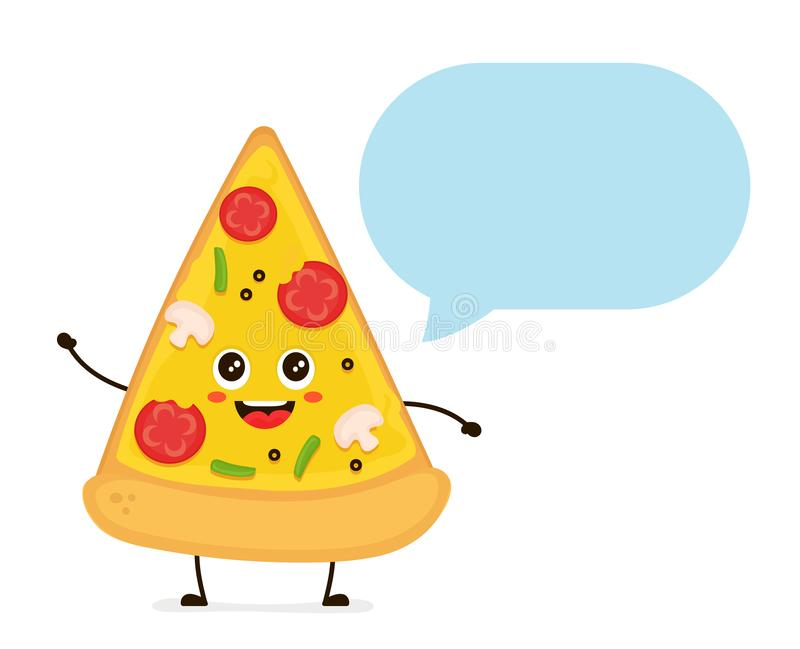 Cute smiling funny cute pizza slice talking stock illustration