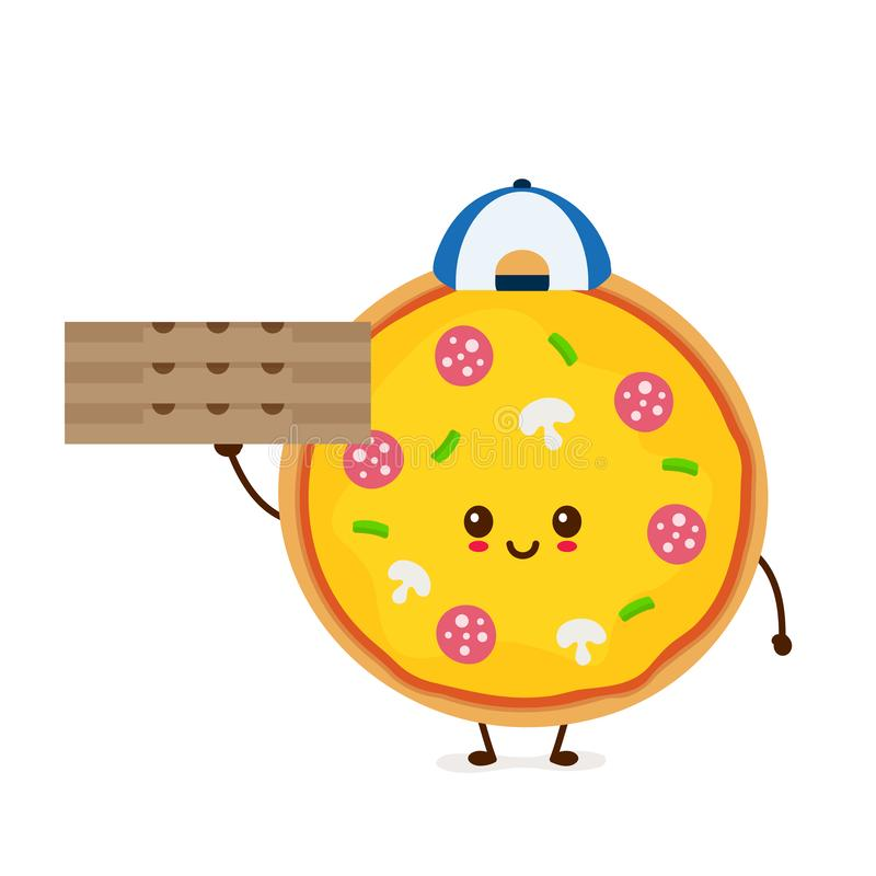 Cute smiling funny cute pizza stock illustration