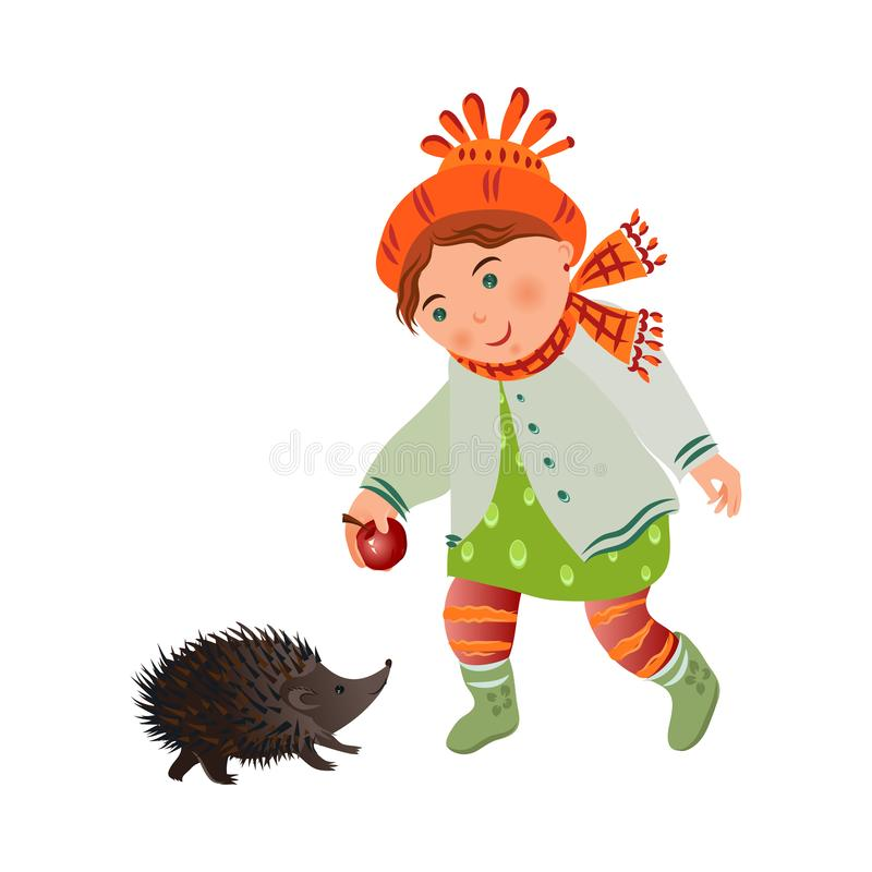 Cute smiling girl in autumn clothes give red apple to hedgehog royalty free illustration
