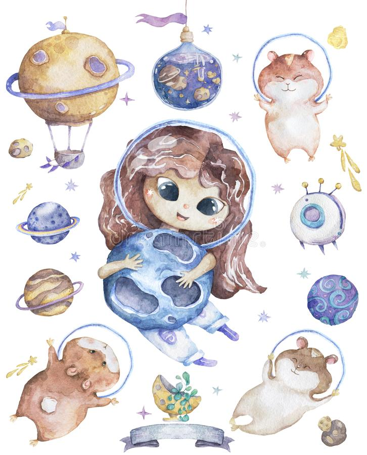 Cute smiling girl brown hair flowers in head take blue planet in hands set of satellites, planet and funny hamster Watercolor Set stock illustration