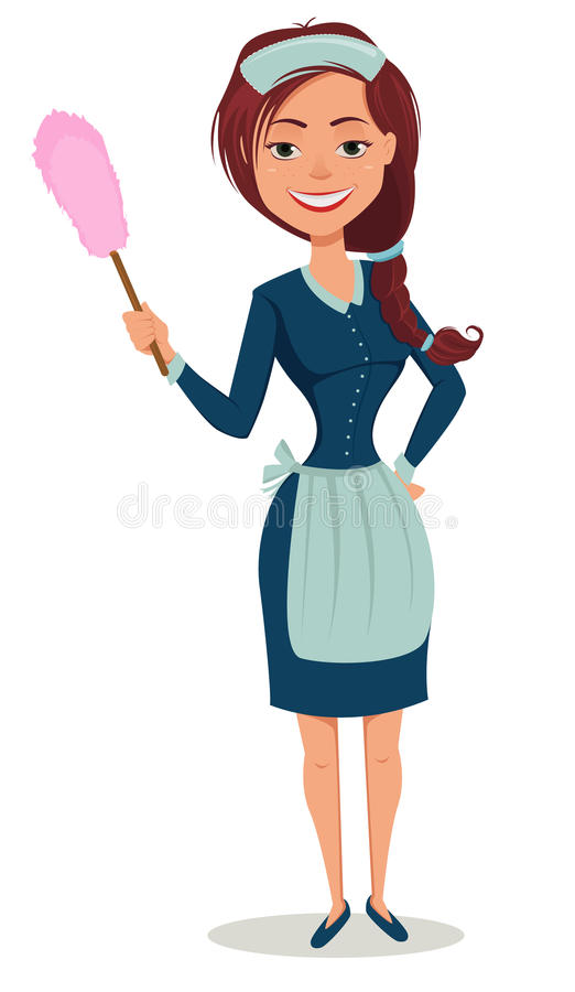 Cute smiling girl dressed in classic French maid clothes, holding dust brush. Cheerful cartoon character. Cleaning service advertisement. Vector illustration stock illustration