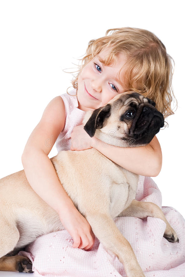 Cute smiling girl with lovely dog isolated. On white background stock images