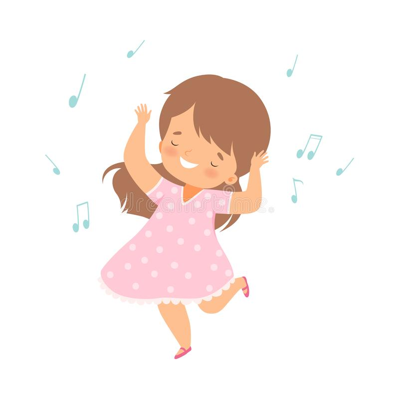 Cute Smiling Girl Singing and Dancing, Adorable Kid Fun and Enjoing Listening to Music Cartoon Vector royalty-vrije illustratie