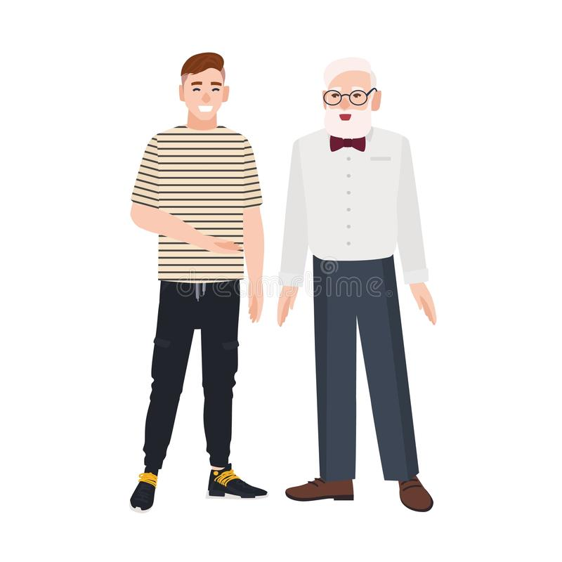 Cute smiling grandfather and grandson standing together. Funny happy elderly man and young guy talking to each other and stock illustration