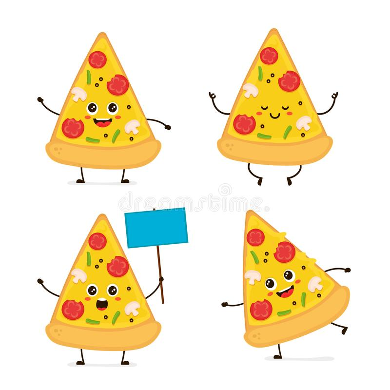 Cute smiling happy funny cute pizza slice royalty free illustration