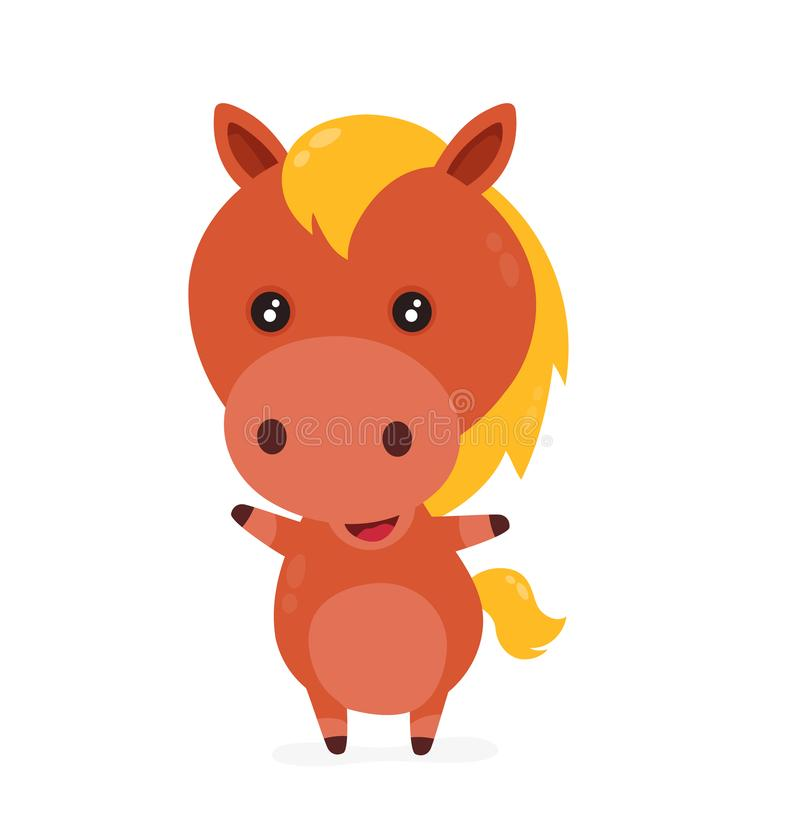 Cute smiling happy funny little horse vector illustration