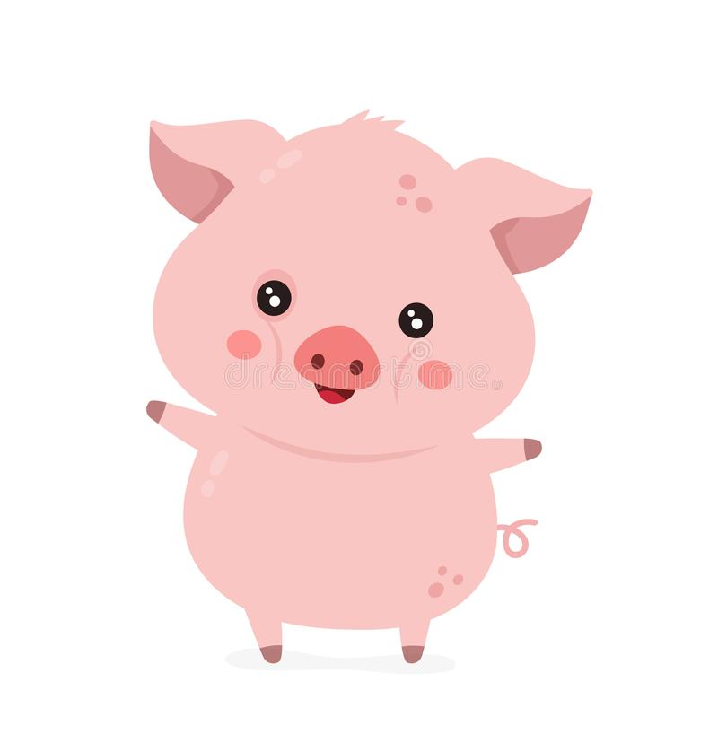 Cute smiling happy funny little pig royalty free illustration