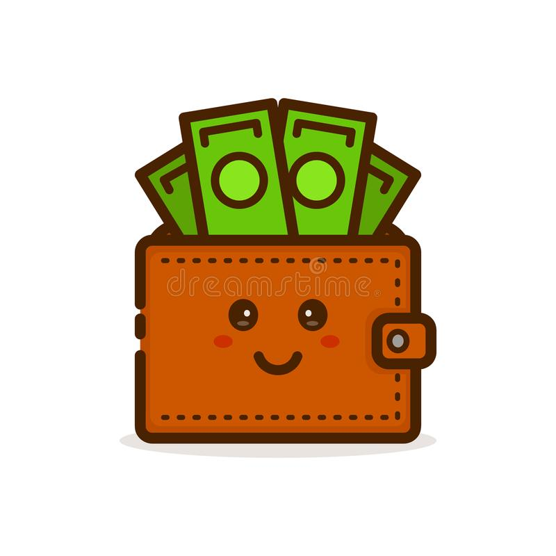 Cute smiling happy money wallet. Vector. Modern line outline flat style cartoon character illustration icon. Isolated on white background. Wallet with dollar vector illustration