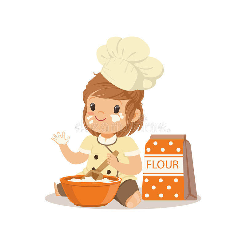 Cute smiling little girl chef with bowl and whisk baking vector Illustration royalty free illustration