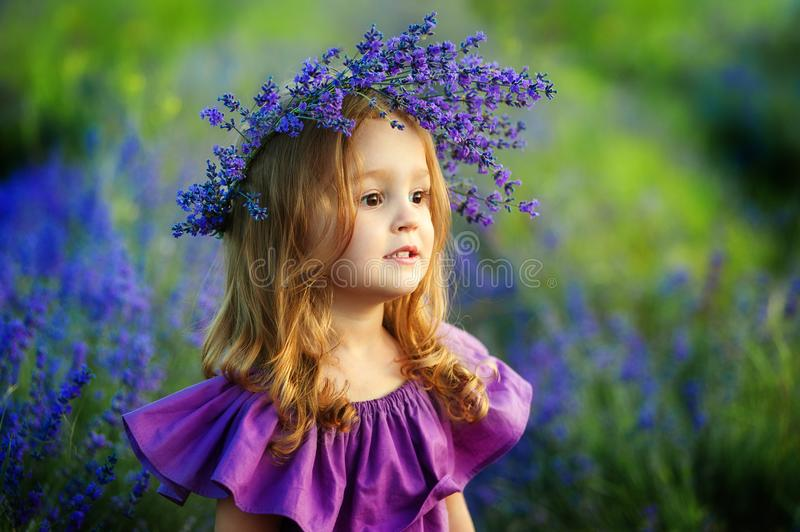 Little girl on lavender field. Portrait of a little girl in wreath of flowers. Cute smiling little girl with flower wreath on the meadow at the farm. Portrait of stock photography
