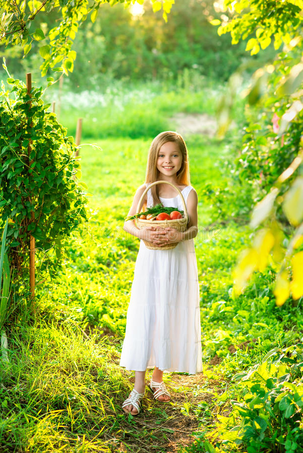 Download Cute Smiling Little Girl Holds Basket  With Fruit And Vegetables Stock Photo - Image of families, dill: 69988216