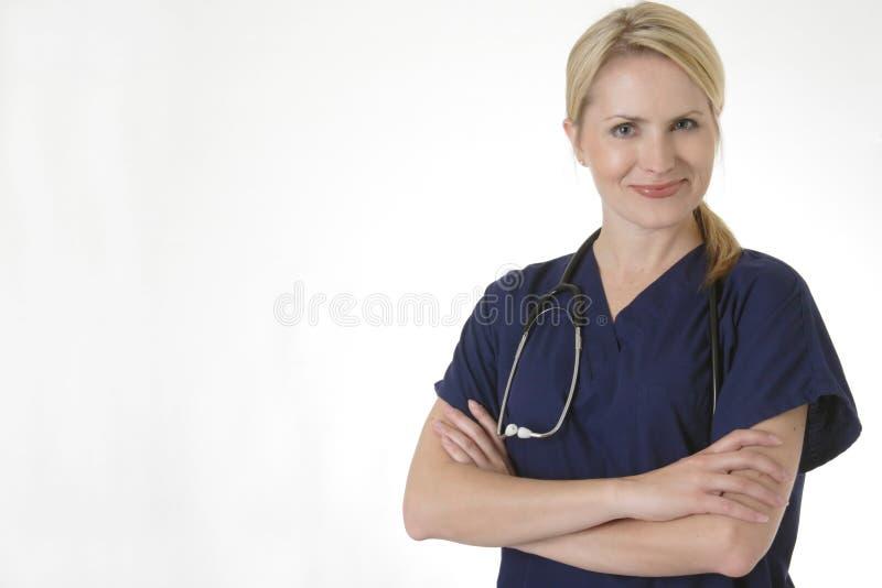 Cute smiling nurse stock photo