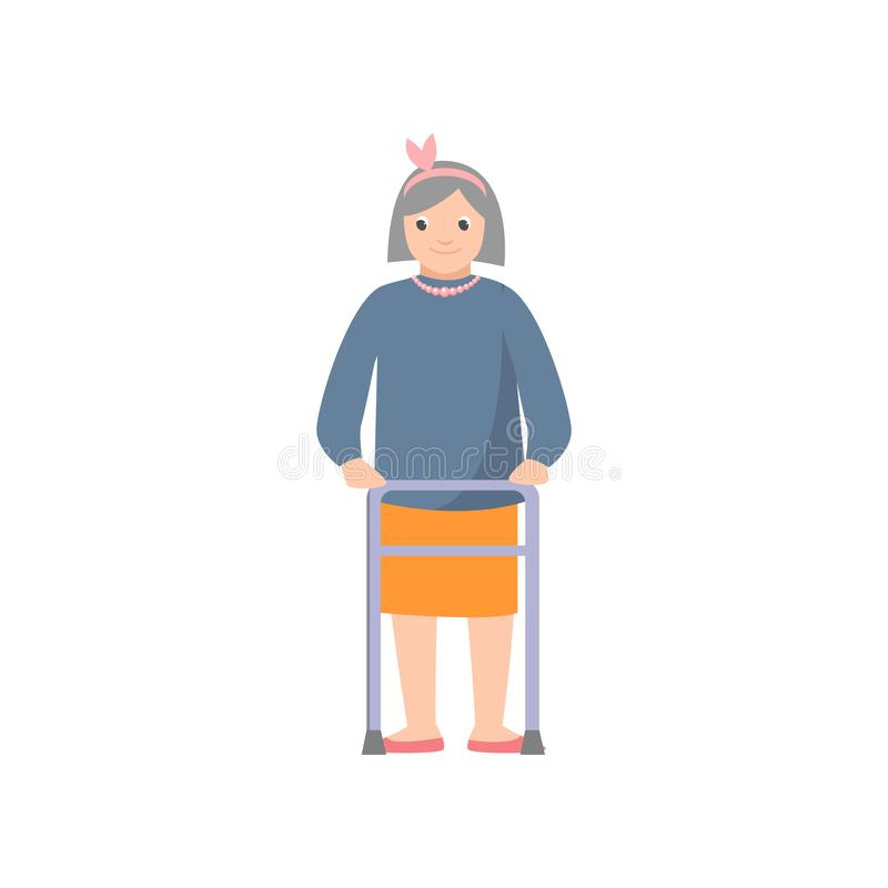 Cute smiling old woman with pearl necklace using metal walker royalty free illustration
